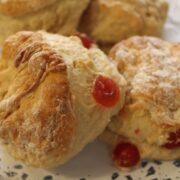 Four homemade cherry scones